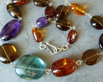 Silver necklace with 17 prescious stones: IMPORTANT, French vat is included,off 20% for US and canadian buyers