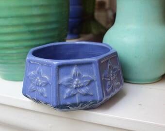 Zanesville Pottery Art Bowl Bulb Blue Gloss VINTAGE by Plantdreaming