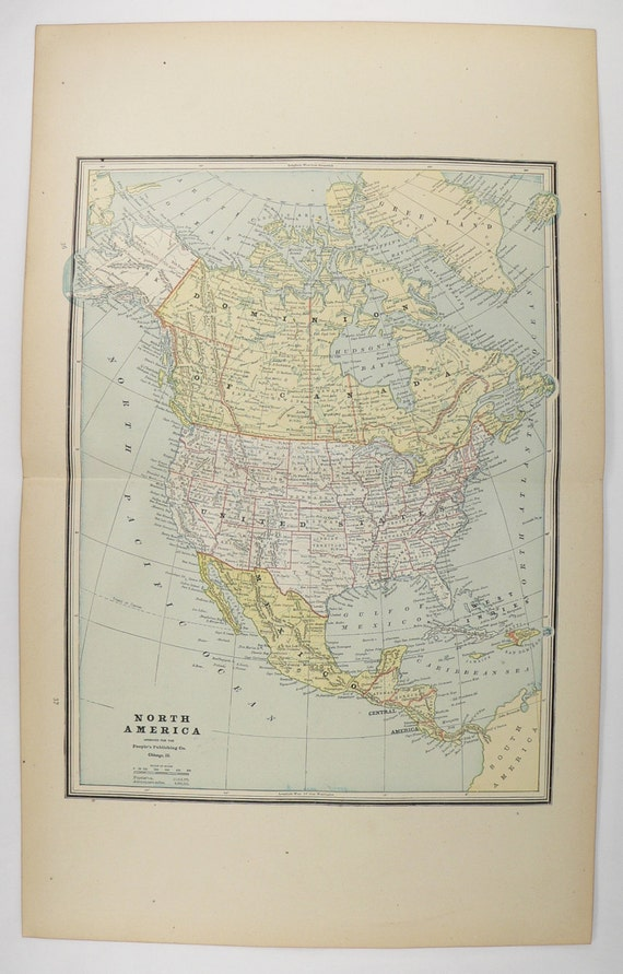 North America Map United States Canada Map Mexico - 1888 us map