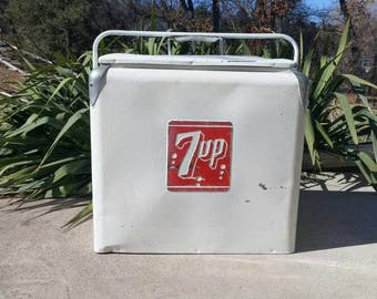 Vintage Galvanized Steel 7 Up Cooler by Progress Refrigerator Co 1940s