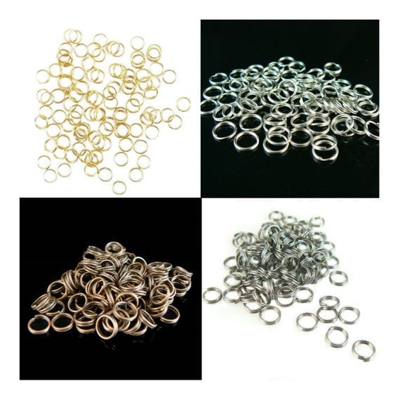 6mm gold or nickel plated, antiqued copper, or black oxide split ring/ key ring/ key chain ring, 100 pcs. Great for charms, jewelry, links