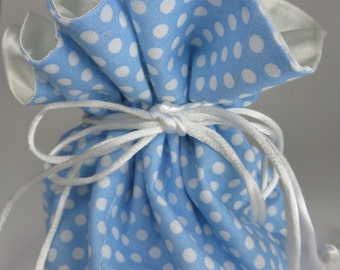 Travel Jewelry Pouch Organizer with Drawstrings in Light Blue Polka Dot Print
