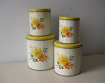 Vintage 1950s Decoware metal canister set yellow daisies canister set