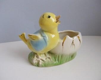Vintage chick and egg planter Easter decor planter