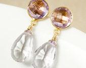 CHRISTMAS SALE Pink Amethyst Quartz & Pink Amethyst Teardrop Earrings - Dangle Earrings