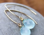 ON SALE Gold Aqua Blue Chalcedony Gemstone Earrings - Gold Filled
