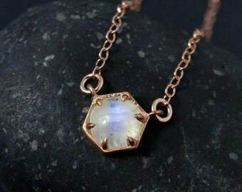 CHRISTMAS SALE Rose Gold Rainbow Moonstone Hexagon Necklace - Geometric Necklace - Choose Your Setting