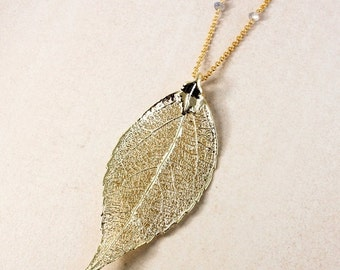CHRISTMAS SALE Gold Dipped Evergreen Leaf Necklace - Fall Necklace - Leaf Jewelry