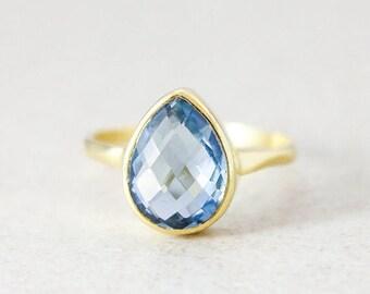 50% OFF London Blue Quartz Teardrop Ring - December Birthstone Ring - Gold