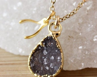 50% OFF Druzy Crystal Necklace with Wishbone Charm Pendant - Whimsical Jewelry - Charm Necklace
