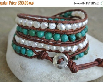 SALE 25% OFF Mystique Turquoise Pearl  Beaded Leather Wrap Bracelet