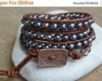 25% OFF SALE Abigail Freshwater Pearl Beaded Leather Wrap Bracelet
