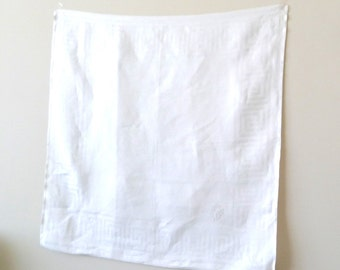 Linen - Warm White - Table Topper - Greek Key - Luxury - Recycled - Eco Friendly - Table Cloth - Small - 28 Inch Square
