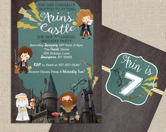 Harry Potter Birthday Invitation - Wizard and Magic - Digital Printable File