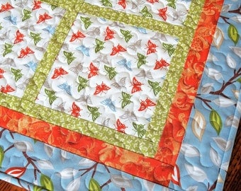 Butterfly Table Topper in Blue Green and Orange, Quilted Square Table Topper, Butterflies and Leaves, Quilted Tablecloth, Gift for Mom