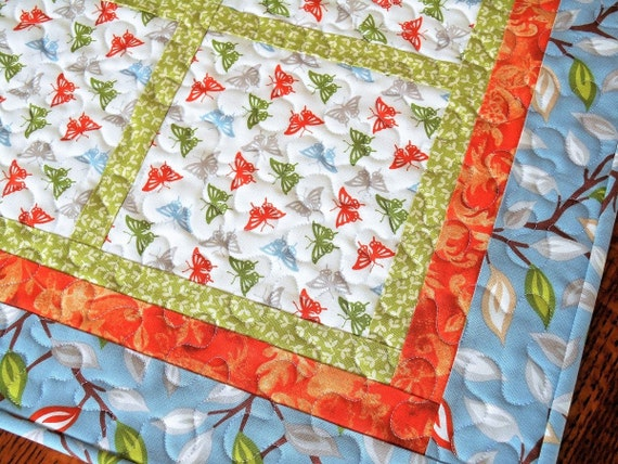 Quilted Square Table Topper with Butterflies in Blue Green and Orange, Butterfly Table Mat, Moda Serenade, Quilted Tablecloth