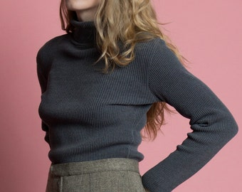 Vintage 90s Gray Fitted Ribbed Knit Turtleneck | S/M