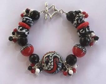 Art Deco Lampwork Red-Black-White Bracelet