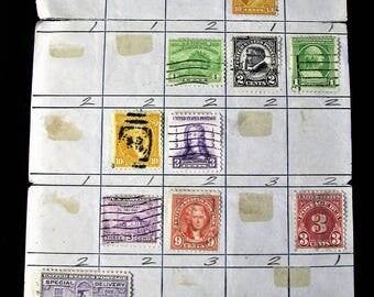 Vintage Stamp Sheet, Collectible Postage, Stamp Approval Sheet, Cancelled Postage, Stamp Collector, Old Vintage Stamps, 1950s Approval Sheet