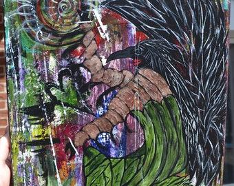Crow/Black Bird Art, Goddess/Spiritual, Original Acrylic Painting, Crow Goddess Of Transformation
