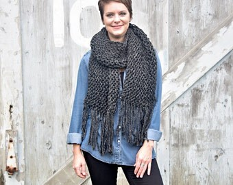 The Blanket Scarf - Ex-large, fringe, holiday gift, fall/winter
