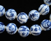 Blue on White Chinese Porcelain Beads, Scorpions, Filigree Silver Clasp