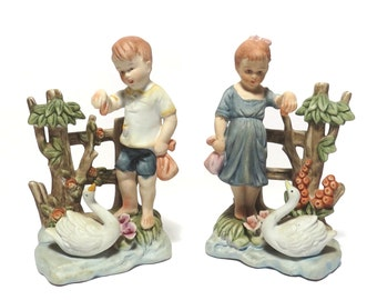 Pair Giftcroft Feeding the Swans Figurines Vintage 1950s Boy and Girl Collectible Figures