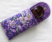 Iphone 6 Plus Glasses Case Combo Quilted Floral Print Pinks Purple