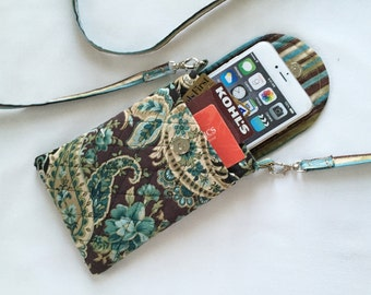 Iphone 6 Plus Smart Phone Gadget Case Detachable Neck Strap Quilted Teal Brown Gold