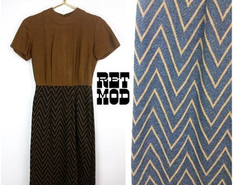 Vintage 60s Mod Brown and Gray Zig Zag Chevron Dress!