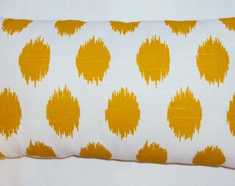 FREE SHIPPING 15x8 Yellow and White Ikat Dot Lumbar Pillow