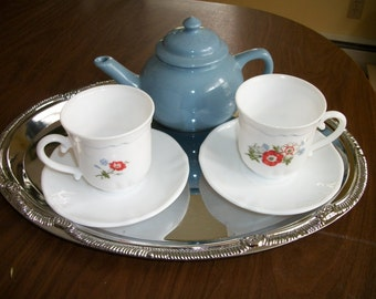 Tea for TWO~Arcopal France  small cups/saucers w red Poppy +  Blue Tea Pot +Silver tray  Excellent Condition