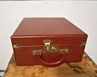 Leather Briefcase, Travel Briefcase, Vintage Briefcase, Hardcover Briefcase, Multi-use Briefcase, Red Briefcase
