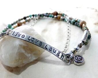 Sterling Silver Bracelet, Petite Bracelet, Live Love Laugh, Turquoise Bracelet, Charm Bracelet, 3 Strand Bracelet - Life As We Know It