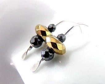 Silver Gold Earrings, Small Earrings, Sterling Silver Earrings, Petite Earrings, Silver Ear Climber Earrings,  Ear Crawler - Forged