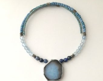 New! - choker, beaded, modern, wrap style agate choker necklace