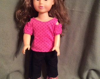 """Sweet Cold Shoulder Shirt and Capris for American Girl and Other 18"""" Dolls"""