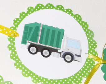 Garbage Truck Birthday Banner, Recycling Party, Garbage Truck Birthday Party, Happy Birthday