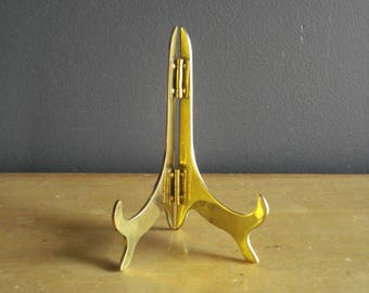 Stand It Up - Small Vintage Brass Picture or Book Stand - Hinged Stand