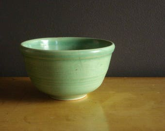 Just A Small Dish - Vintage Pottery - Small  Green Bowl - Old Kitchen Bowl