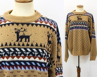 Deer Sweater Vintage 70s Novelty Intarsia Knit Pullover Jumper Slouchy Crewneck Cowichan Boyfriend 1970s Fair Isle Unisex Retro Large XL