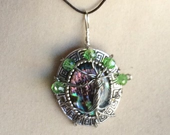 Wire Wrapped Tree of Life Abalone Shell Pendant