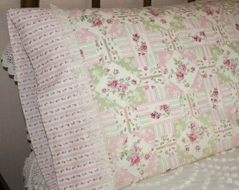 Sweet Raspberry Pink Roses and Lace Patchwork-Design Vintage Style, Gift Quality Handmade Cotton Queen Pillowcases - Set of Two