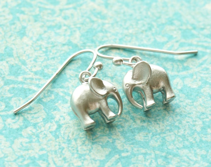 Elephant Earrings, Tiny Gold Silver Baby Elephant Symbolic Charm, Wisdom, Little Girl Earrings, Wedding, Bridesmaid Gift