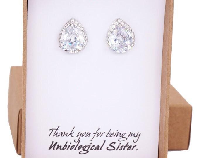 Jarita - Wedding Bridesmaid Gift Bridal Earrings Bridesmaid Jewelry Clear White luxe Cubic Zirconia Teardrop Ear Post Stud Earrings Sterling