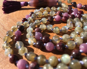 Ruby, Garnet, & Labradorite Mala, Prayer Beads
