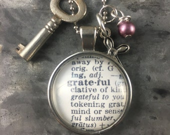 One Word Pendant with Vintage Key - Grateful