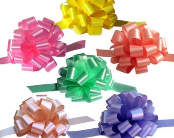 6 Large Easter Gift Pull Bows Yellow Mint Melon Pink Lavender Coral Spring Pastels
