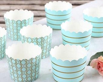 Light Aqua Baking Cups with Gold Accents, Aqua Cupcake Cups, Aqua Candy Cups, Wedding Favor Cups, Pastel Baking Cups, Small Treat Cups (24)