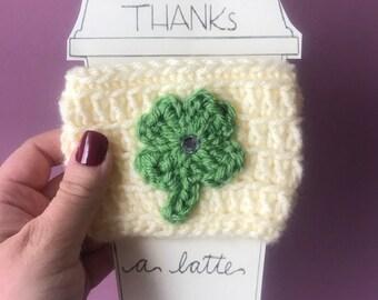 crochet shamrock coffee cozy, crochet cozy, saint patricks day, st. Pattys day, coffee sleeve, cup cozy, mom gift, drink cozy, irish gift